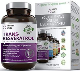 Abundant Health Trans-Resveratrol Anti-aging Blend Supplement with Green Tea, Acai, Grape Seed Extract, and Antioxidant Vitamin C, 60 Capsules