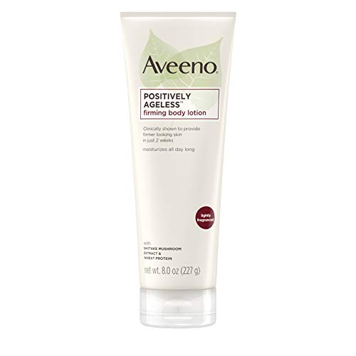 Aveeno Positively Ageless Anti-Aging Firming Body Lotion with Shiitake Mushroom complex & Wheat Protein,Lightweight &Non-Greasy Daily Moisturizing Lotion to help Improve Skin Elasticity & Texture,8 oz