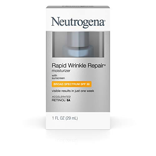 Neutrogena Rapid Wrinkle Repair Daily Hyaluronic Acid Retinol Face Moisturizer, Anti Wrinkle Face Cream & Neck Cream with SPF 30 Sunscreen – Hyaluronic Acid, Retinol & Glycerin with SPF 30, 1 fl. oz