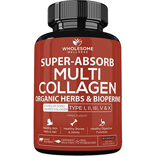 Super-Absorb Multi Collagen Pills (Type I II III V X) Organic Herbs and Bioperine – Anti-Aging, Hair, Skin, Nails, Joints – Hydrolyzed Collagen Peptides Protein Supplement for Women Men (90 Capsules)