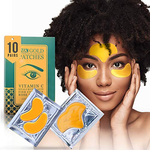 24K Gold Collagen Under Eye and Forehead Patches – Under Eye Mask for Dark Circles Bags Treatment – Dermatologist Approved – No Parabens, Natural and Vegan, No Hidden Chemicals, Cruelty-Free – 10 Pcs