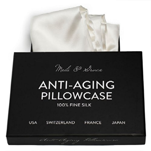 Anti-Aging 100% Mulberry Silk Pillowcase by Meili & Grace-The Best Silk Pillowcase for Your Hair and Skin – Prevents Crow's Feet + Forehead Wrinkles + Fine Lines. Eliminates Hair Frizz and Tangling.