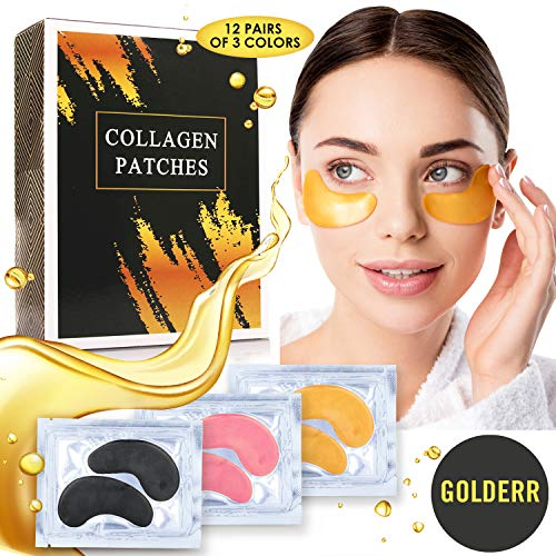 GOLDERR Under Eye Patches – 24k Gold Eye Mask Anti-Aging Eye Treatment – Collagen Under Eye Pads – Hyaluronic Acid for Eye Bags – Puffy Eyes Wrinkles Under Eye Dark Circles Moisturizing Treatment