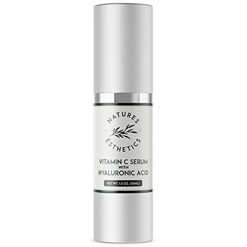 Natures Esthetics Vitamin C Serum with Hyaluronic Acid for Face – Anti-Aging, Pore Minimizer, Acne Treatment, Skin Brightening and Tightening. Packaging Prevents Oxidation. Air-Tight 1 fl.oz