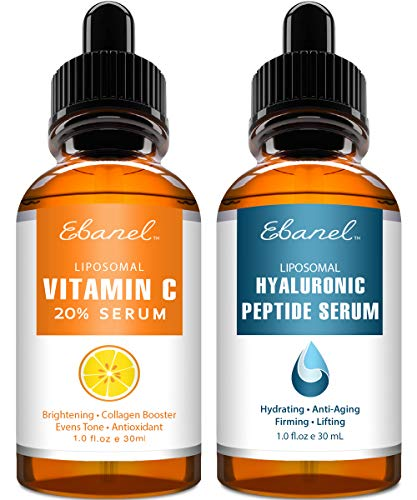 Ebanel Vitamin C Serum Hyaluronic Acid Serum for Face – Ultimate Anti Aging Serum Set – Deep Hydrating, Visibly Plump, Firm & Smooth Skin, Brighten & Even Skin Tone, Reduce Redness & Inflammation