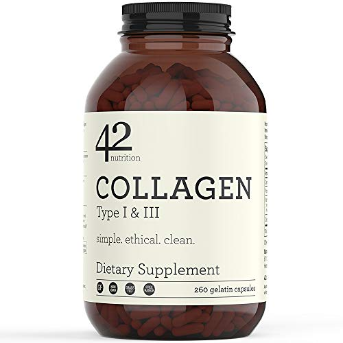 42Nutrition Collagen Pills Type I and III Supplements – 260 Gelatin Capsules with Vitamin C and Essential Amino Acids for Healthy Hair Skin Bones and Muscles – Gluten Free Non-GMO and Grass Fed