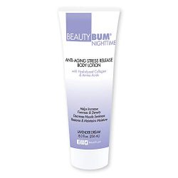 BeautyFit BeautyBum Nighttime Anti-Aging Stress Release Body Lotion with Hydrolyzed Collagen & Amino Acids (Lavender Dream) (8 oz)