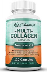 Multi Collagen Peptides Pills – Type I, II, III, V, X – 120 Capsules – Natural Grass Fed Bone Broth Supplement, Clinically Effective Hydrolyzed Collagen Protein for Women, Skin Health Joint Anti Aging