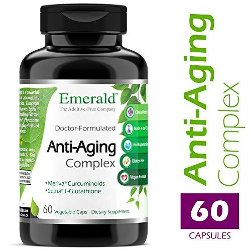 Anti-Aging Complex – with L-Glutathione, Resveratrol, CoQ10, R-Alpha Lipoic Acid, Meriva, Pomegranate, & More – Emerald Laboratories (Rainforest) – 60 Vegetable Capsules