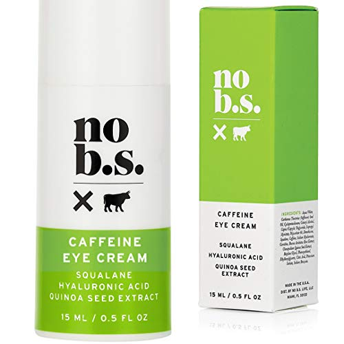 No B.S. Caffeine Eye Cream With Hyaluronic Acid and Plant Based Squalane. Firming Under Eye Cream For Dark Circles And Crows Feet Wrinkles. Puffy Eye Treatment. Rapid Results.