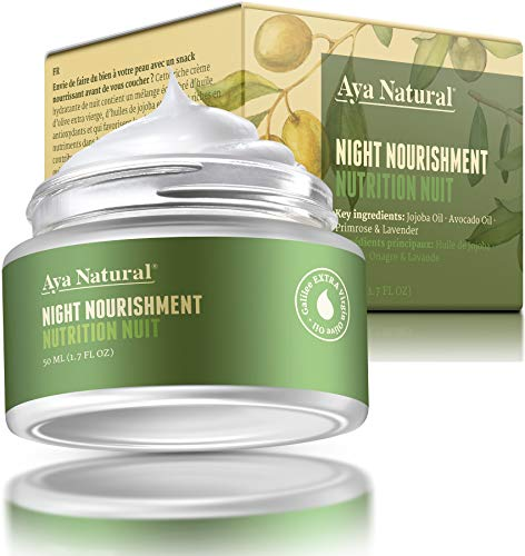 All Natural Night Cream Face Moisturizer – Vegan Anti Aging Night Time Anti Wrinkle Dark Spot Corrector for Dry Skin by Aya Natural