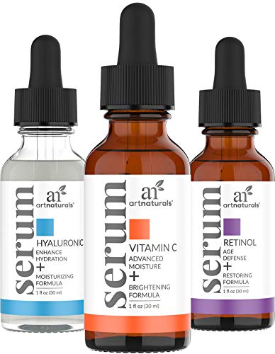 ArtNaturals Anti-Aging-Set with Vitamin-C Retinol and Hyaluronic-Acid – (3 x 1 Fl Oz / 30ml) Serum for Anti Wrinkle and Dark Circle Remover – All Natural and Moisturizing