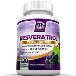 BRI Resveratrol – 1200mg Maximum Strength Natural Antioxidant Supplement for Longevity Premium, Ultra Pure Veggie Caps Promote Healthy Heart and Brain Function and Immune System Health (120 Capsules)
