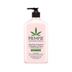 Hempz Blushing Grapefruit & Raspberry Creme Herbal Body Moisturizer Lotion, Fruit Body Cream, Pure Hempseed Oil, Shea Butter, Ginseng, Natural Extracts, 17 Fl Oz