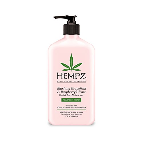 Hempz Blushing Grapefruit & Raspberry Creme Herbal Body Moisturizer Lotion, Fruit Body Cream, Pure Hempseed Oil, Shea Butter, Ginseng, Natural Extracts, 17 Fl Oz