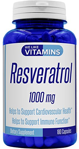Resveratrol Capsules 1000mg Serving – 180 Capsules – Full 3 Month Supply – Antioxidant Trans Resveratrol Supplement Helps Support Anit-Aging and Cardiovascular System
