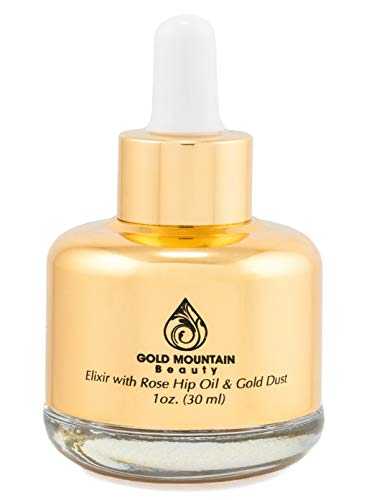 Anti-Aging Face Serum – Nourishing Elixir Beauty Facial Oil Treatment with Rosehip Oil and 24K Gold Dust for Face, Hair and Body, Rose Hip Seed Oil Softens and Helps Reduce Fine Lines and Wrinkles