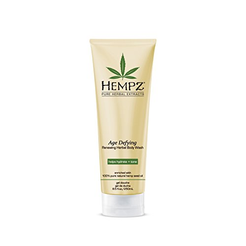 Hempz Age Defying Renewing Herbal Body Wash, 8.5 oz., with Shea Butter, Ginseng – Anti-Aging, Fragranced Shower Gel with Pure Hemp Seed Oil, Algae for Sensitive Skin – Premium Personal Care Products