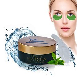 Green Tea Matcha Firming Eye Mask, 30 Pairs Collagen Patches For Fine Lines, Wrinkles, Under Eye Bags & Puffy Eyes Treatment, Face Anti-Aging Gel Pads, Facial Dark Circles & Tired, Saggy Skin Care