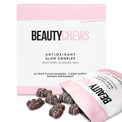 Beauty Chews Antioxidant Supplement Gummies for Anti-Aging | Astaxanthin and Vitamin E | Boosts Skin Collagen, Repairs Skin Damage and Dark Spots for a Healthy Glow | 4 On-The-Go Weekly Gummy Pouches
