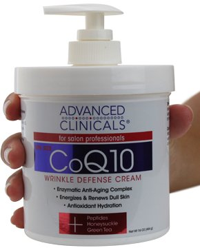 Advanced Clinicals CoQ10 Wrinkle Defense Cream w/Peptides, Honeysuckle, Green Tea. Anti-wrinkle cream moisturizes dry, aging skin for a radiant look. For face, hands, body. 16oz (16oz)