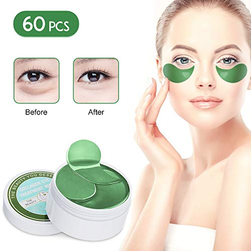Under Eye Patches Teamyo Collagen Eye Masks,Reduce Dark Circles & Puffiness Eliminate Eye Bags, Natural Eye Treatment Masks with Anti Wrinkles & Anti Aging, Moisturizer Deeply, 30 Pairs-Green