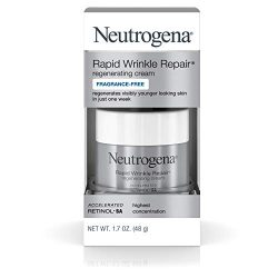 Neutrogena Rapid Wrinkle Repair Hyaluronic Acid Retinol Cream, Anti Wrinkle Cream, Face Moisturizer, Neck Cream & Dark Spot Remover for Face – Day & Night Cream with Hyaluronic Acid & Retinol, 1.7 oz