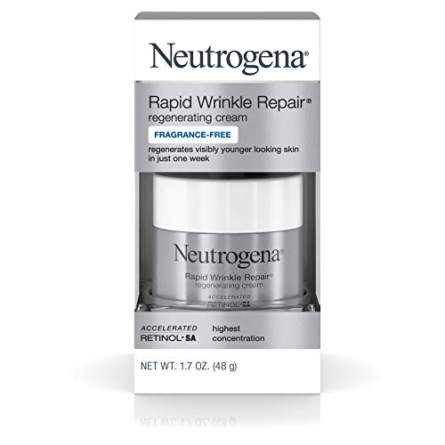 Neutrogena Rapid Wrinkle Repair Hyaluronic Acid Retinol Cream, Anti Wrinkle Cream, Face Moisturizer, Neck Cream & Dark Spot Remover for Face – Day & Night Cream with Hyaluronic Acid & Retinol, 1.7 oz