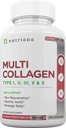 Best Multi Collagen Peptides Protein Pills Type I, II, III, V, X – Hydrolyzed Collagen Capsules for Women and Men for Anti-Aging, Hair, Joints and Bones – 90 Collagen Supplements 1500 mg