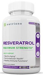 Best Resveratrol Antioxidant Supplement – Resveratrol Capsules – Anti Aging Supplements for Cardiovascular Support and Healthy Aging – 60 Reservatrol Over 500 mg Supplement Capsules