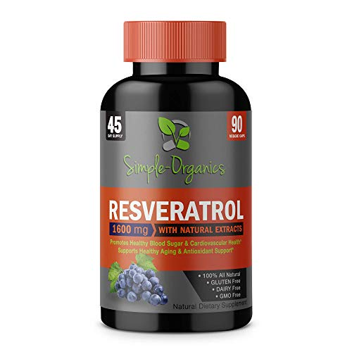 Resveratrol 1600mg per Serving- 100% Organic, Pure Extra Strength Complex with Organic Trans-Resveratrol – Anti-Aging, Radiant Skin, Blood Sugar and Immunity Support- 45 Day Supply