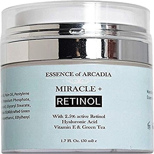 Retinol Moisturizer Cream High Strength for Face and Eye Area Miracle Plus – 2.5% Retinol, Hyaluronic Acid, Vitamin E, Green Tea – Anti aging Formula Reduces Wrinkles, Fine Lines, Spots-Day and Night