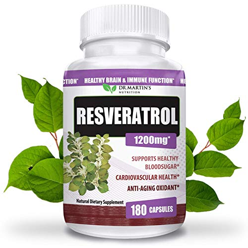 Extra Strength 100% Pure Resveratrol 1200mg – 180 Capsules – 3 Months Supply | Antioxidant Supplement | Natural Trans-Resveratrol Pills | for Anti-Aging, Heart Health, Immune System & Brain Function