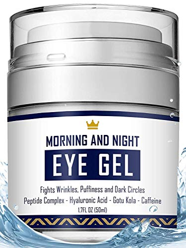 Eye Cream – Dark Circles & Under Eye Bags Treatment – Reduce Puffiness, Wrinkles – Effective Anti-Aging Eye Gel with Hyaluronic Acid, Gotu Kola Extract and Caffeine – Refreshing Serum