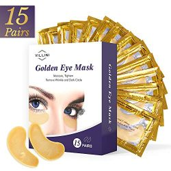 VILLINI Under Eye Patches – 24K Gold Eye Mask – Anti-Aging Under Eye Pads – Eye Wrinkle Patches – Hydrogel Eye Treatment Mask for Puffy Eyes and Dark Circles – 15 Pairs