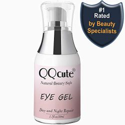 Eye Gel, QQcute Day & Night Anti-Aging Eye Treatment Cream for Wrinkle, Dark Circle, Fine Line, Puffy Eyes, Bags Best Hydrogel Eye Moisturizer for Women Mother's Day Gift – 1.7 fl oz.