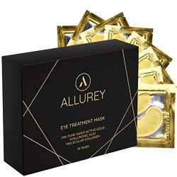 ALLUREY 24K Gold Collagen Eye Mask, Best Eye Care, Anti-aging and Anti-wrinkle Effect, Moisturizes, Reduces Puffiness and Dark Circles, Under Eye Patches (15 Pairs)