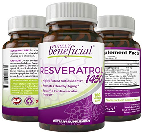 RESVERATROL1450-90day Supply, 1450mg per Serving of Potent Antioxidants & Trans-Resveratrol, Promotes Anti-Aging, Cardiovascular Support, Maximum Benefits