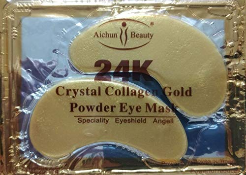NYKKOLA 20 Pairs Gold Eye Mask Powder Crystal Gel Collagen Eye Pads For Anti-Aging & Moisturizing Reducing Dark Circles, Puffiness, Wrinkles