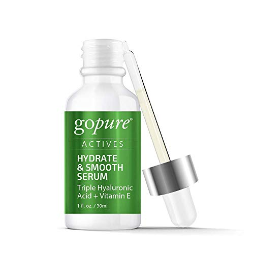 goPure Actives Hyaluronic Acid Serum with Vitamin E & C for Anti Aging Face Serum Intensely Hydrates & Smoothes Appearance of Deep Wrinkles, Fine Lines, Dark Spots & Acne Scars – Cruelty Free