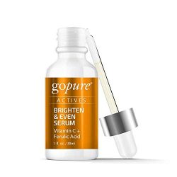 goPure Actives Professional Facial Vitamin C Serum for Anti Aging Face Serum Intensely Hydrates & Smoothes Deep Wrinkles, Fine Lines, Minimizes Dark Spots & Acne Scars – Cruelty Free