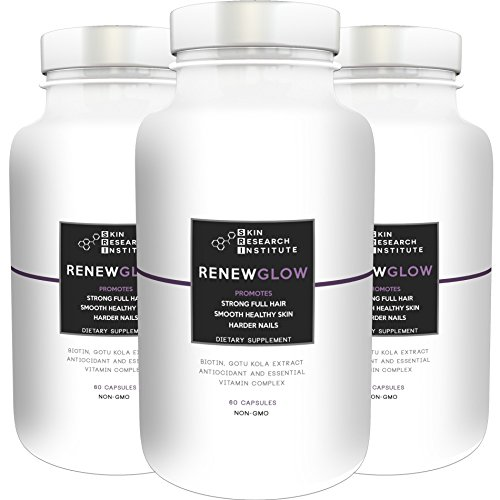 Renewglow – Anti Aging Supplement Fights Against Biotin Deficiency, Free Radicals and Prevents Oxidation to Restore Hair and Skin for A Healthy Glow (3 – Pack)