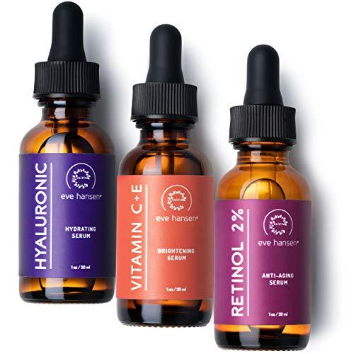 Eve Hansen Anti-Aging Serum Set   Vitamin C Serum, Hyaluronic Acid Serum, Retinol Serum   Brightening Serum, Anti Wrinkle Serum, Dark Spot Corrector for Face, Acne Scars, Pore Minimizer   3×1 oz