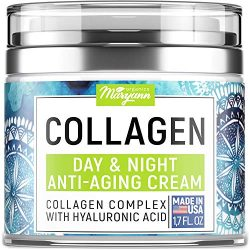 MARYANN Organics Collagen Cream – Anti Aging Face Moisturizer – Day & Night – Made in USA – Natural Formula with Hyaluronic Acid & Vitamin C – Firming Cream to Smooth Wrinkles & Fine Lines – 1.7OZ