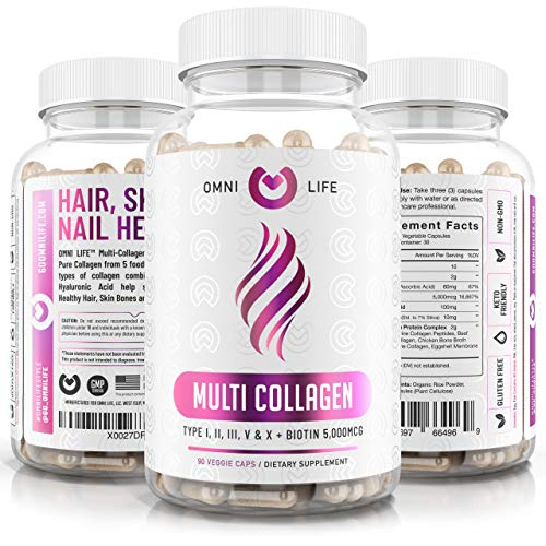 Collagen Peptides Pills – Types I,II,III,V & X with Biotin & Hyaluronic Acid – Supports Anti-Aging, Healthy Hair, Skin, Bones & Nails – Keto & Paleo Friendly Hydrolyzed Protein – 90ct.