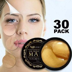 24K Gold Eye Mask Under Eye Pads Under Eye Bag Collagen Eye Treatment Masks for Anti Aging, Under Eye Mask Patches for Dark Circles & Puffiness Anti Wrinkle, Moisturising, Whitening – 60pcs