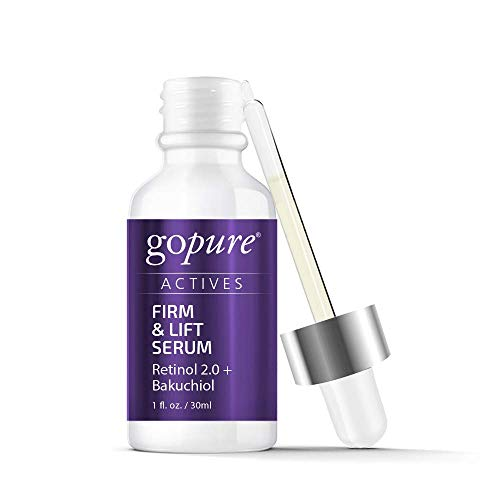 goPure Actives Firm & Lift Retinol + Bakuchiol Retinol Serum Anti Inflammatory Anti Aging Complex Antioxidant Wrinkle Paraben Free for Men & Women – Cruelty Free
