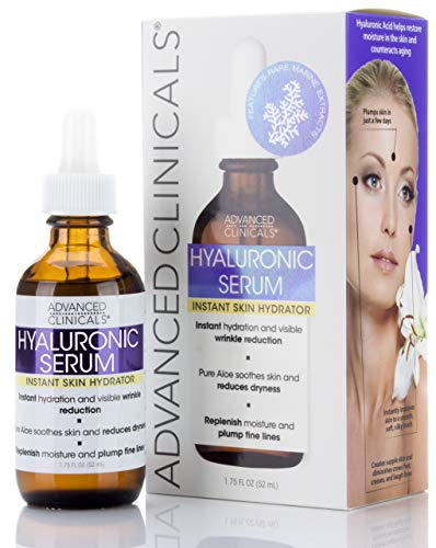 Advanced Clinicals Hyaluronic Acid Face Serum. Anti-aging Face Serum- Instant Skin Hydrator, Plump Fine Lines, Wrinkle Reduction. (1.75oz)