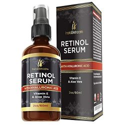 Retinol serum for face (2oz) with Hyaluronic Acid + Vitamin A and E + Aloe Vera Anti aging moisturizer – Fade Dark Spots – Clinical Strength Formula