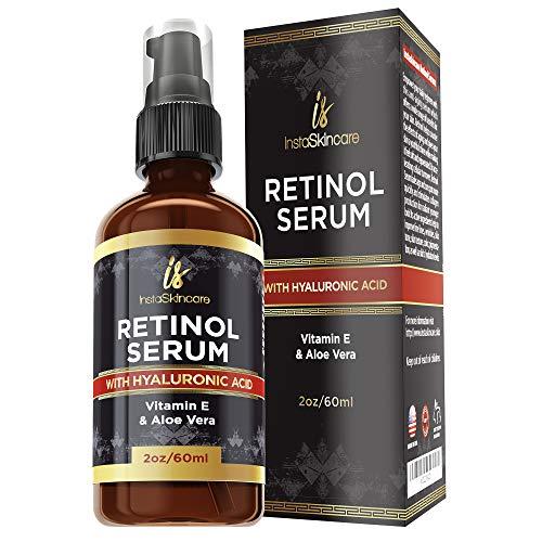 Retinol serum for face (2oz) with Hyaluronic Acid + Vitamin A and E + Aloe Vera Anti aging moisturizer – Fade Dark Spots – Clinical Strength Formula